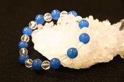 青めのう10mm玉+水晶ブレスレット